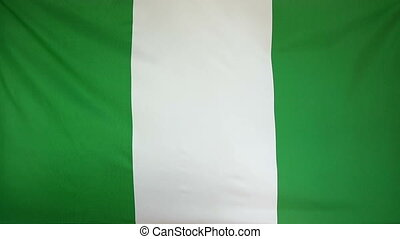 Slowmotion textile Flag Nigeria - Slowmotion of a real...