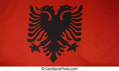Slowmotion textile Flag of Albania - Slowmotion of a real...