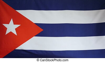 Slowmotion textile Flag of Cuba - Slowmotion of a real...