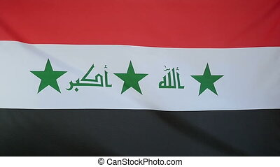 Slowmotion textile Flag of Iraq - Slowmotion of a real...