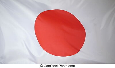 Slowmotion textile Flag of Japan - Slowmotion of a real...