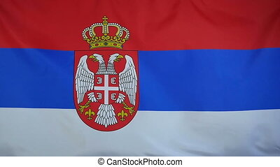 Slowmotion textile Flag of Serbia - Slowmotion of a real...