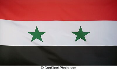 Slowmotion textile Flag of Syria - Slowmotion of a real...