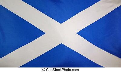Slowmotion textile Flag Scotland - Slowmotion of a real...