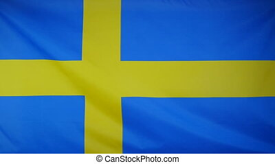 Slowmotion textile Flag Sweden - Slowmotion of a real...
