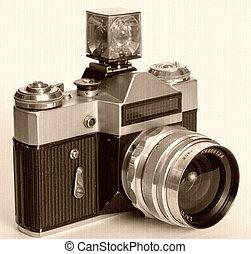 slr aparat fotograficzny, czarnoskóry, stary, 35mm
