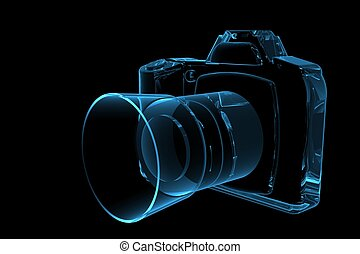 SLR Camera 3D rendered xray blue transparent