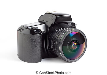 SLR camera and fisheye - A 35mm SLR camera with an 8mm...