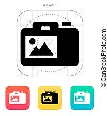 SLR camera icon.