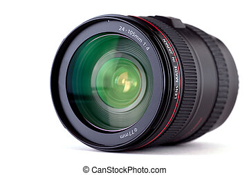 SLR Camera Lens - Close-up and isolated shot of a SLR camera...