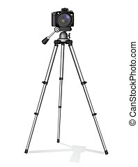 SLR camera on a tripod. Metal construction. Take a photo, movie or video.