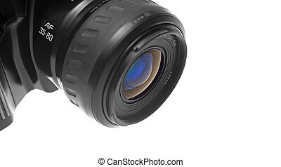 Closeup of the lens of a black SLR camera. Viewed from the left. Space at the right of the image. Isolated over white background.