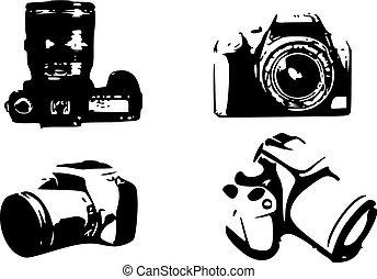 slr vector - four vectors of reflex photographic cameras