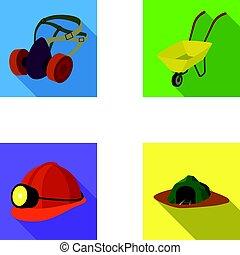 sluchátka, a, raspirator, kolečko, helma, s, jeden, lucerna, ta, vchod, do, ta, mine.mining, píle, dát, vybírání, ikona, do, byt, móda, vektor, znak, klády osvětlení, web.