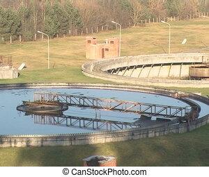 sludge settle water clean - Waterworks sewage treatment...