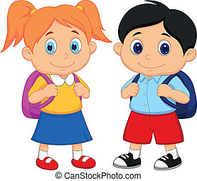 sluha, děvče, backpacks, karikatura