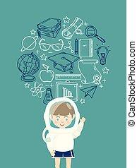 sluha, mládě, astronaut souprava, školství, ikona