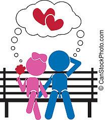 sluha, pojem, láska, klacky, -, miláček, děvče, nebo