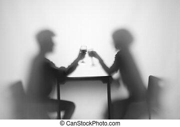 sluha, relationship., víno, deska, děvče, barometr