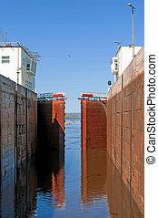 Sluice of the channel Volga-Don Lenin's name. Russia
