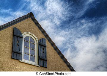 sluiter, blauwe , venster, hemel, hdr