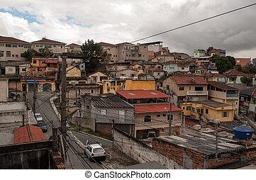 slum suburb of sao paulo - residences in the poor suburb of...