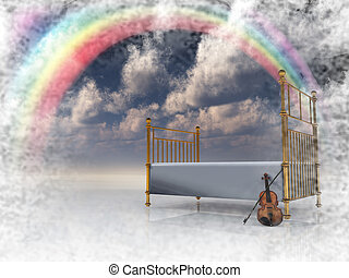Slumber - Bed with violin and rainbow in surreal scene