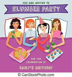 Slumber Party Birthday Invitation With Four Cute Girls Friends Vector Illustration. Ginger, Brunette, Blond And Brown Haired Girlfriends Different Hairstyles Chatting, Snacking During Sleepover.