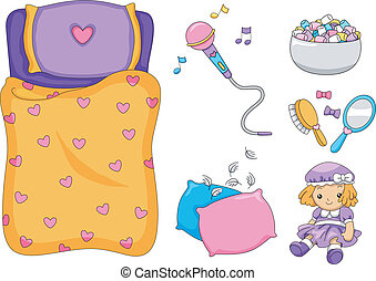 Slumber Party Elements - Illustration of Ready to Print...