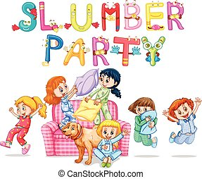 Slumber party with girls in pajamas at home illustration