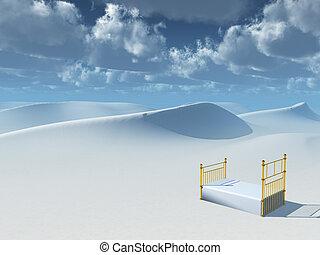 Slumber - Surreal painting. Bed in desert.