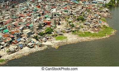 Slums and poor district of the city of Manila. - Slums with...