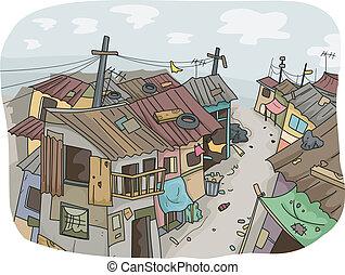 Slums - Illustration of a Slum Neighborhood