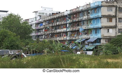 Slums in Asia. Poor area in Thailand, Pattaya. Old hostel, poverty.