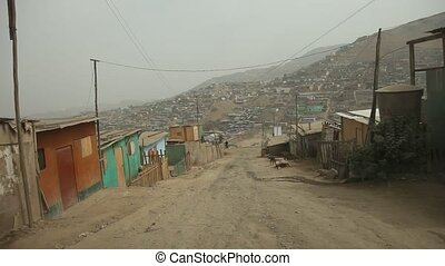 Slums in Lima, Peru - Driving in Slums in Lima, Peru, South...