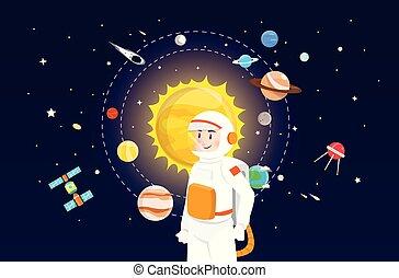 sluneční, astronaut, design, systém, ilustrace