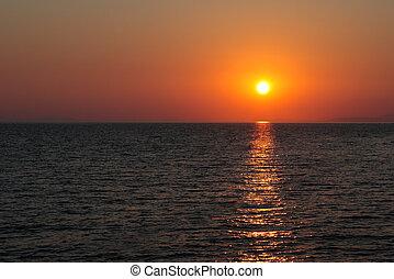 slunit se, nebe, čistý, zarudlý, nad, moře, sázení
