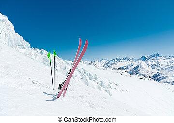 sluttning, blå alpin, solig, skidor, sky, snö, mot, dag, omfång, stänger, käpp, kaukasus, par, skida, caucasian, bakgrund, ute