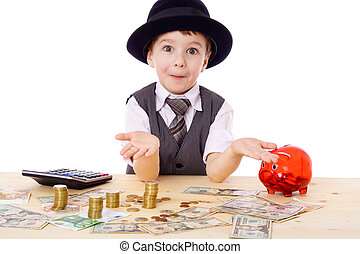 Sly boy at the table with money - Sly boy in black hat with ...