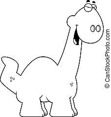 Sly Cartoon Apatosaurus - A cartoon illustration of a...