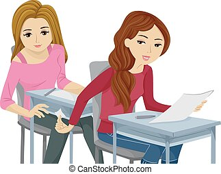 Sly Teen Girls Cheating Exam - Illustration of Teenage Girls...