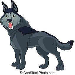 Sly Wolf  - Illustration of cute cartoon wolf