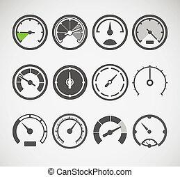 slyles, différent, vecteur, compteurs vitesse, collection