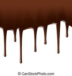 smält, droppande, choklad