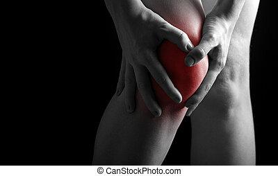 smärta, in, den, knee., kiropraktor, gör, massera, in, sjuk,...
