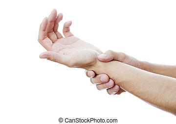 smärta, in, den, skarvar, av, den, hands.