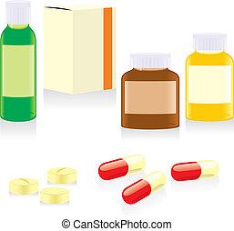 smärtstillande medel, flaskor, rutor, och, biljard