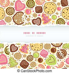 småkakor, färgrik, mönster, ram, sönderrivet, seamless, bakgrund, horisontal