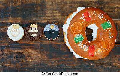 Småkakor, förståndig, män, tre, spansk, Tårta, jul