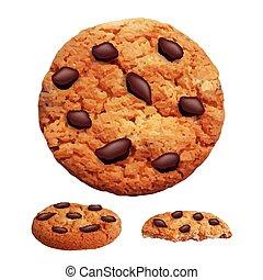 småkakor, foto, chips, choklad, realistisk, vektor, 3